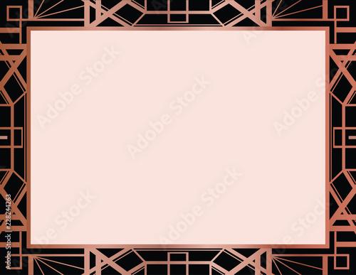 Geometric Rose Gold Gatsby Art Deco Style Border Frame Design Stock