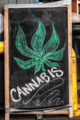 Cannabis blackboard sign in front of store - Marijuana legalisation in Canada on October 17, 2018. It is now legal to smoke and buy weed in shops nationwide.