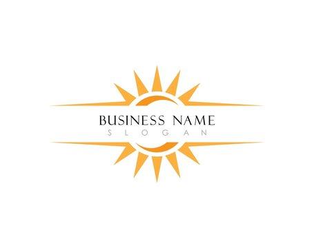 sun Logo Icon Vector Template.Sun over horizon