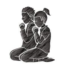 Boy and Girl Praise God, Prayer, Christian praying, Thank you GOD graphic vector