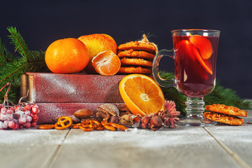 New year's hot mulled wine on a wooden table