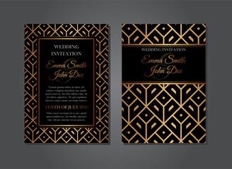 Elegant Gold Black Geometric Wedding Invitation Design