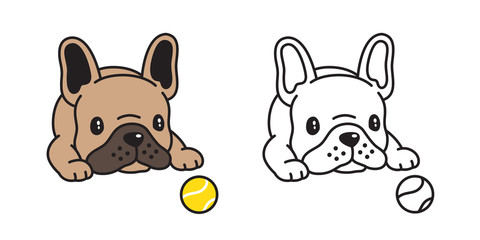 dog vector french bulldog icon logo tennis ball toy cartoon character illustration symbol doodle brown