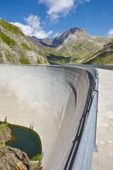 Llauset dam in Aragon. Hydroelectric energy power. Trekking route