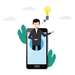 Concept online assistant on smartpnone, customer and operator, call centre, online global technical support 24-7. Vector illustration male hotline operator advises client, virtual help service.