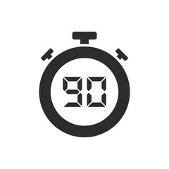Isolated stopwatch icon with ninety seconds