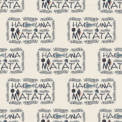 minimalistic pattern of Hakuna mata. plants, algae, shells.
