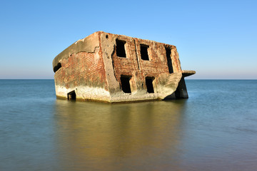 Ruins of bunker on the beach