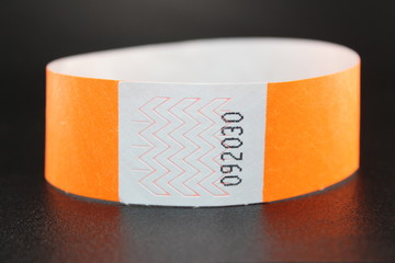 Tyvek orange color wristband with paper material water resistant