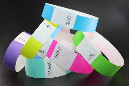 Colorful collection of Wristbands for tracking people in night clubs, music festivals and hobbies