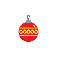 Christmas ball decorated flat icon, vector sign, colorful pictogram isolated on white. Baubles symbol, logo illustration. Flat style design