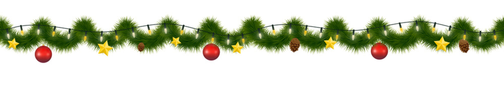 Festive Christmas garland. New Year decorative torse, Horizontally seamless festoon.