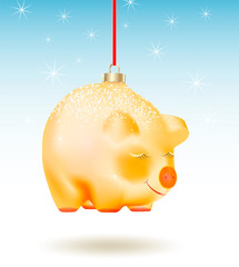 Chinese 2019 Happy New Year of a yellow pig. Realistic Christmas Bauble on red ribbon isolated on light blue background with stars or snowflakes.