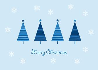 クリスマスツリーと雪の結晶のグリーティングカード