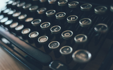 Close up of vintage typing machine keys