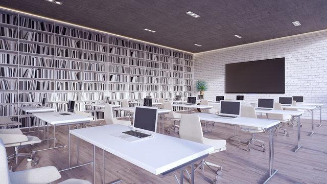 modern classroom interior design 3d render 3d illustration