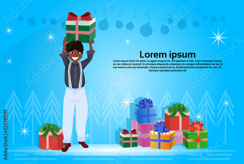 African American Man Holding Gift Box Happy New Year Merry Christmas