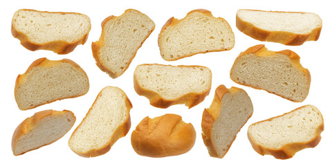 Slices of white bread isolated on white background