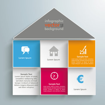 House Shape Colored Squares Infographic