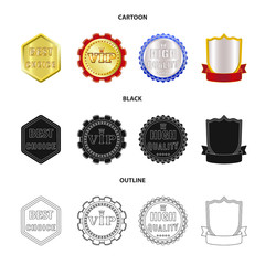 Vector design of emblem and badge logo. Collection of emblem and sticker stock symbol for web.