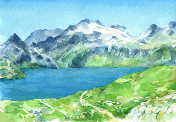 Panoramic view of Alps with fresh green meadows and lake on the foreground. Watercolor hand drawn illustration.