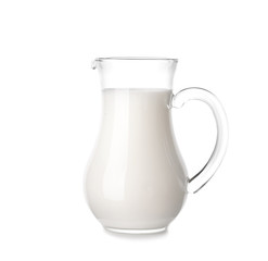 Pitcher of milk on white background