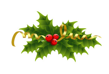 Christmas holly berries and tinsel