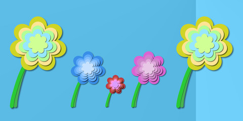 abstract floral theme on light blue background - springtime flowers illustration backdrop