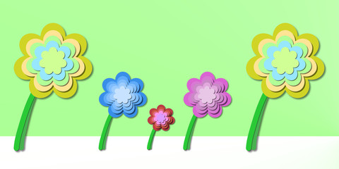 abstract floral theme on a green background - springtime flowers illustration backdrop