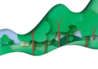Naklejka premium Zielona ekologia i koncepcja środowiska z natura las krajobraz papier sztuka abstrakcyjne tło. Ilustracja wektorowa.