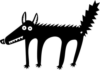 Funny black wolf cartoon illustration