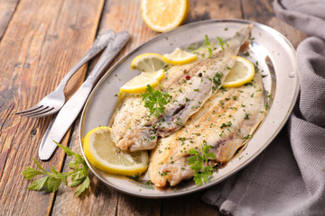 sole fish cooked with herb and lemon