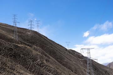 Electricity Pole with Blue Sky