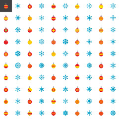 Christmas elements collection, flat icons set, Colorful symbols pack contains - xmas baubles, christmas ball toy, winter snowflakes. Vector illustration. Flat style design