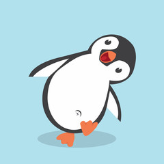 Cute Penguin cartoon  in flat style