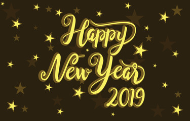 Happy New Year 2019 Greeting Card Golden Stars