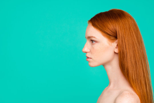 Profile side view of nude natural red-haired girl, shiny pure cl