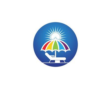 Umbrella beach holidays logo vector