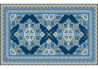 Variegated luxury vintage oriental carpet with yellow and different shades of blue on white background