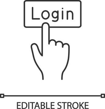 Login button click linear icon