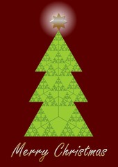 Christmas tree, fractal designed christmas card. Sierpinki triangle fractal composed as christmas tree. Unusual modern design for any computer company. Vector illustration