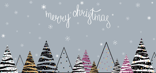 Merry Christmas banner with abstract Christmas trees and snow.