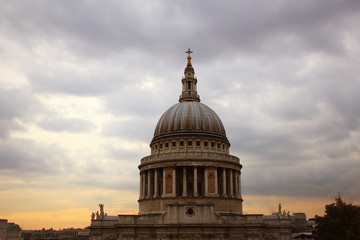 St Paul's Cathedral at sunset, London, United Kingdom