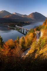 Beautiful autumn day at lake Sylvenstein