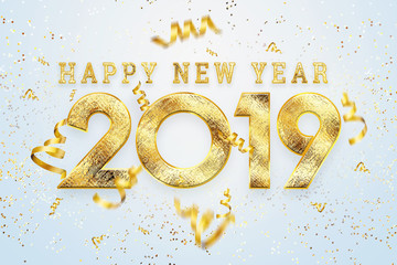 Creative background, 2019 Happy new year. Gold Numbers Design of greeting card of. Gold Shining Pattern. Happy New Year Banner with 2019 Numbers on a light background. Confetti, copy space.