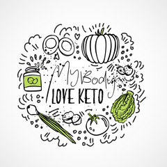 My Body Love Keto Food - vector sketch illustration - two-colored sketch healthy concept. Healthy keto food with texture and decorative elements in a circle form - all nutrients, like fats, carbs and