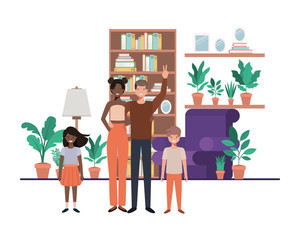 family in living room with library avatar character