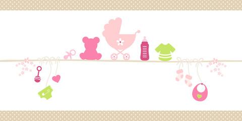 Small Card Baby Symbols Girl Dots Border