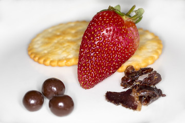 Strawberry and snack plate.