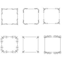Calligraphic frames decorative floral set